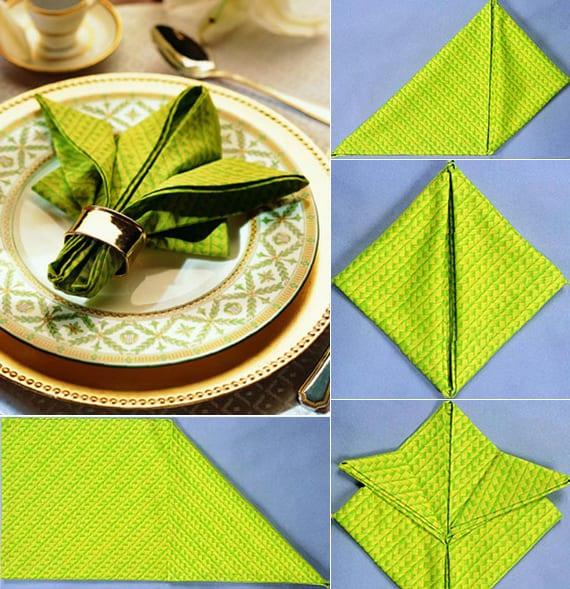 ideen für interessantes servietten falten für festliche tischdeko
