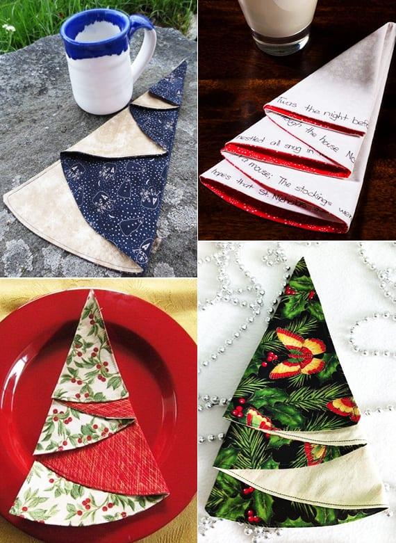 halbrunde servietten falten in form von tannenbaum als weihnachtliche tischdekoration