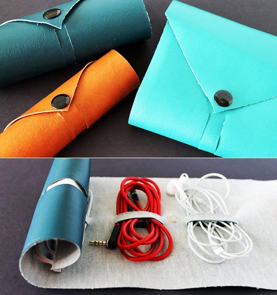 selbstgemachte geschenke aus leder als kreative Idee für DIY-Weihnachtsgeschenke