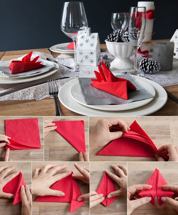 serviettentechnik für kreatives serviettenfalten und coole tischdeko weihnachten