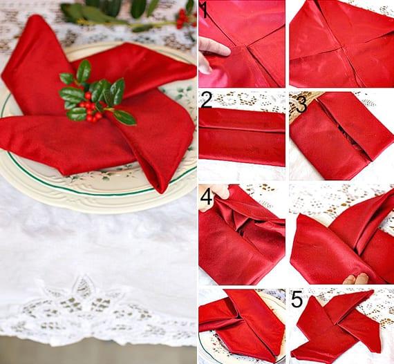 servietten einfach und kreativ falten zu weihnachten als coole festliche tischdeko idee