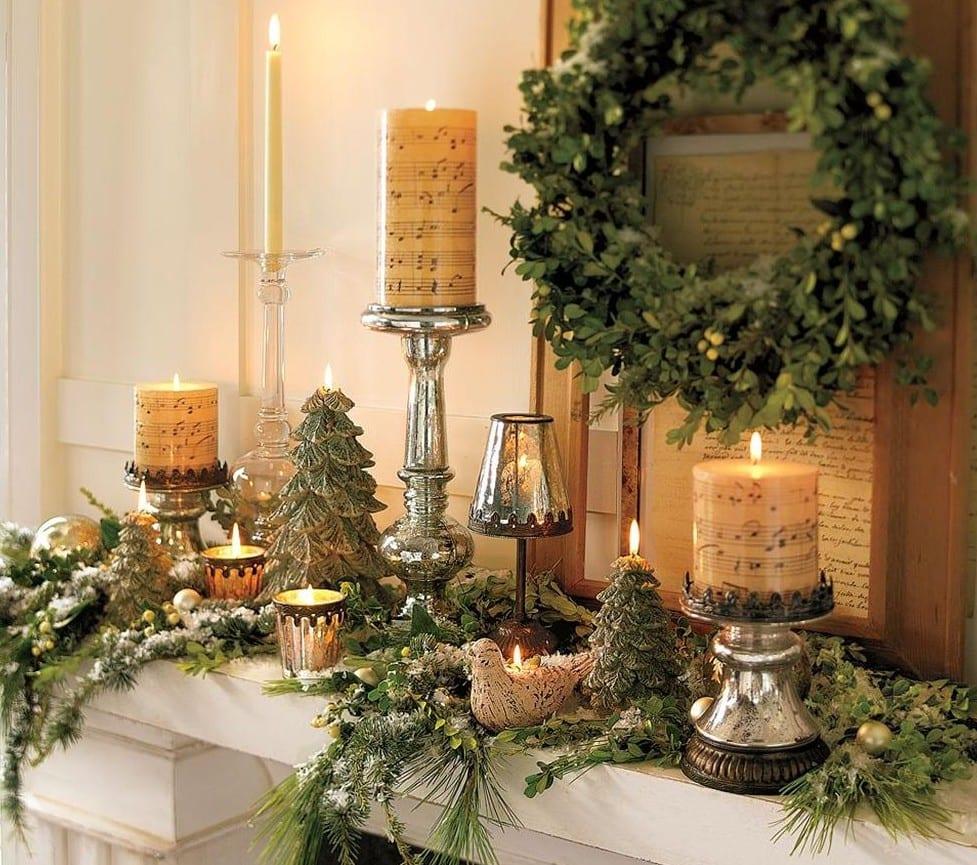 weihnachtsdeko ideen mit kerzen und kranz für den kamin