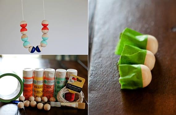 weihnachtsgeschenke selber machen für frauen_DIY-Halskette aus Holzkugeln