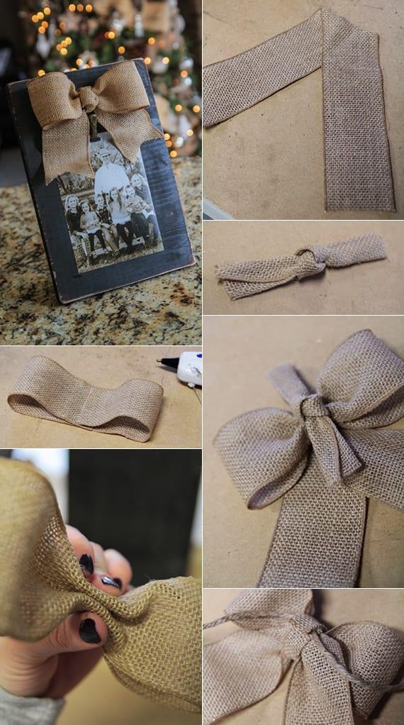 DIY-Bilderrahmen aus Holz mit Schleife als selbstgemachte Geschenke und coole geschenkidee zu Weihnachten