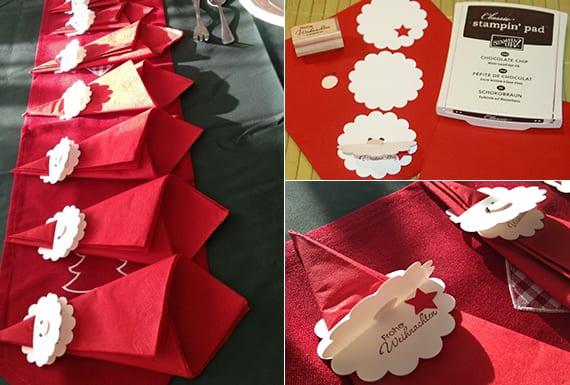 kreative tischdeko mit roten-weihnachtsmann-papierservietten kreativ falten zu weihnachten