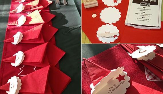 servieten falten als nikolaus f r weihnachtliche tischdekoration mit roten servietten freshouse. Black Bedroom Furniture Sets. Home Design Ideas