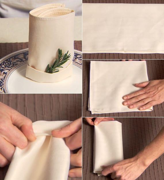 einfache serviettentechnik zum stoffservietten falten