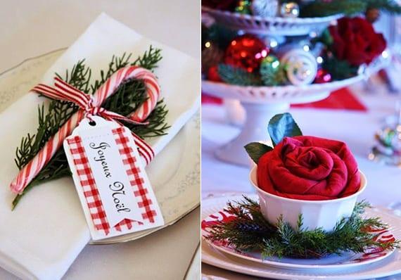servietten falten als festliche tischplatz dekoidee zu weihnachten