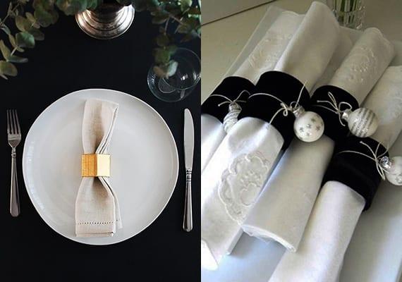 coole tischdeko in schwarz-weiß und kreative serviettentechnik für festliche tischplatzdeko zu weihnachten