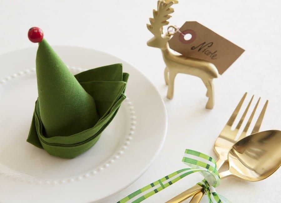 weihnachtliche tischdekoration und coole dekoideen weihnachten mit Elefen-Servietten