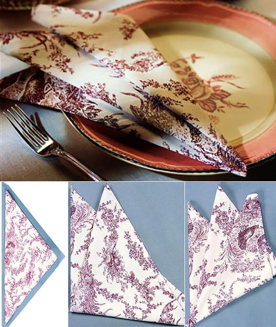 papierservietten einfach falten für kreative festliche tischdeko
