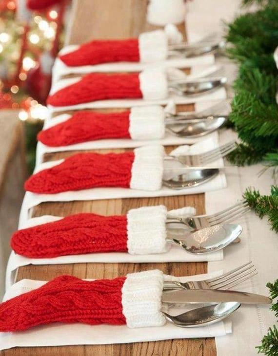 serviettentaschen als nikolausstiefel als coole tischdeko weihnachten