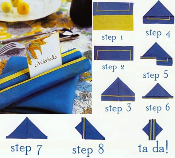 stoffservietten falten als tischplatzdeko in blau für festliche tischdeko