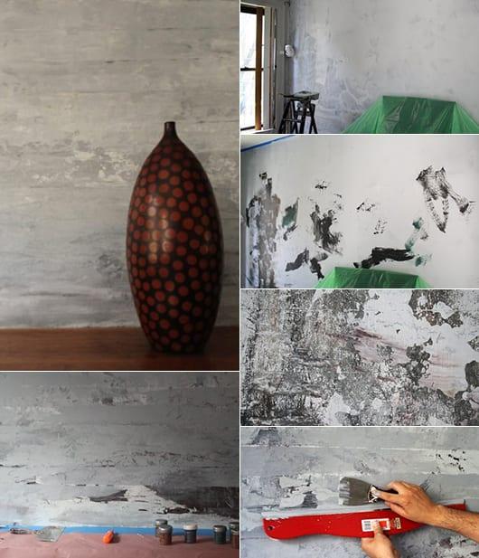 moderne wohnzimmer gestalten mit wandfarbe grau und interessante streichtechnik für beton-effekt