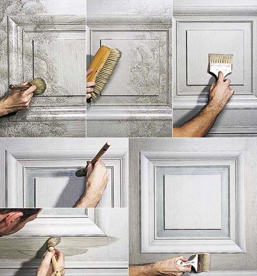 weiße wände kreativ gestalten durch interessante wand streichtechnik