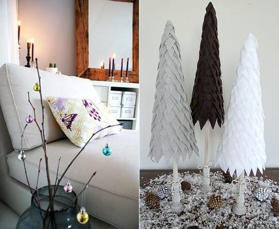 dekoideen weihnachten mit coolen weihnachtsbaum alternative