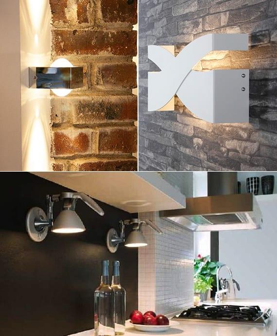 wandlampen als küchenleuchten und für moderne wandgestaltung von Ziegelwänden