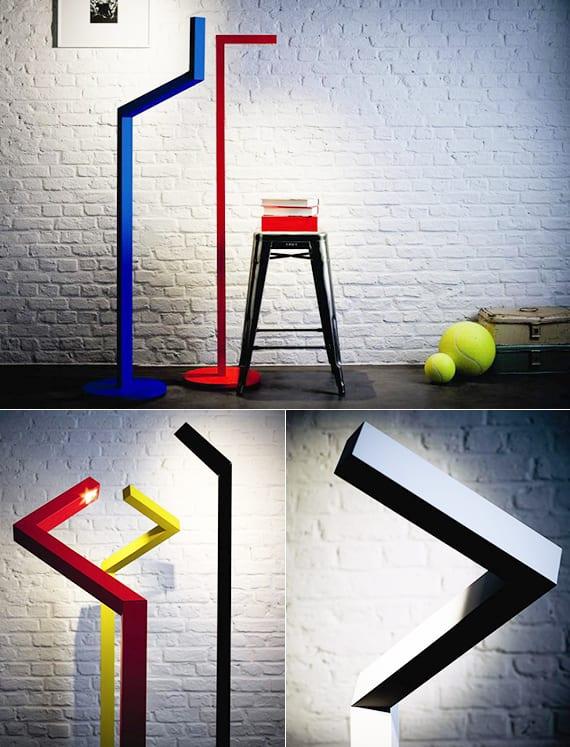 designerstück-Leuchte in grellen Farben für minimalistische Raumgestaltung
