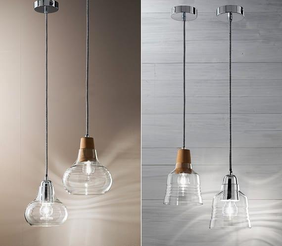 moderne pandelleuchte mit glaslampenschirm
