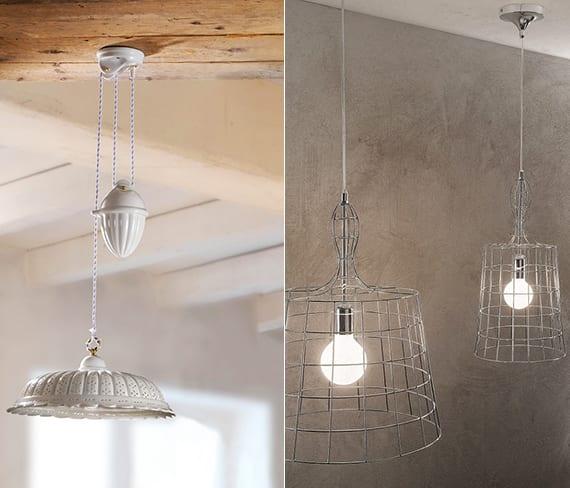 weiße vintage-pendellampe höhenverstellbar und kreative Industrielampe aus Gitter für modernes und rustikales Interior Design