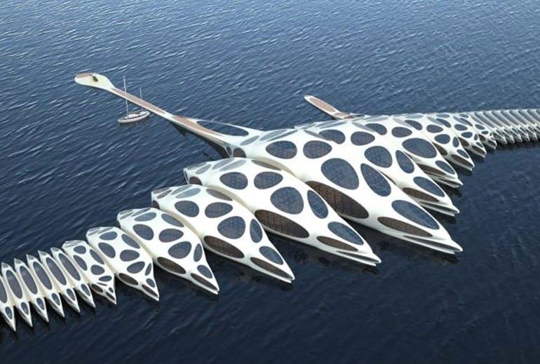 hotelschiff in form von wirbelsäule aus mehreren hausbooten für besonderen kreuzfahrt urlaube