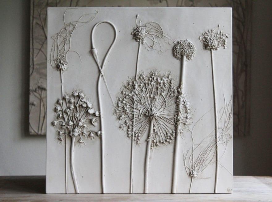 kreative blumen gipsabdrucke als ausgefallenes geschenk und kreatiev wandgestaltung mit diy deko