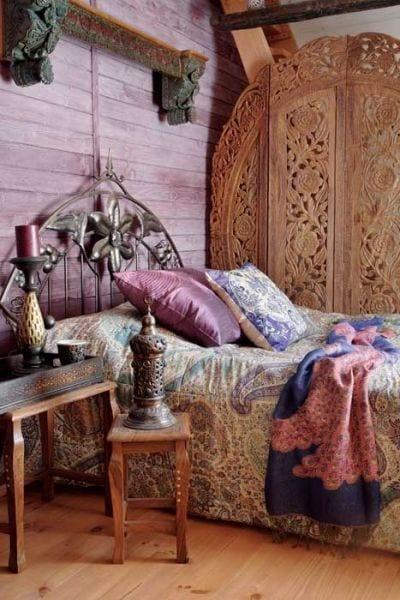 schöner wohnen schlafzimmer ideen für boho chic style in lila farbe