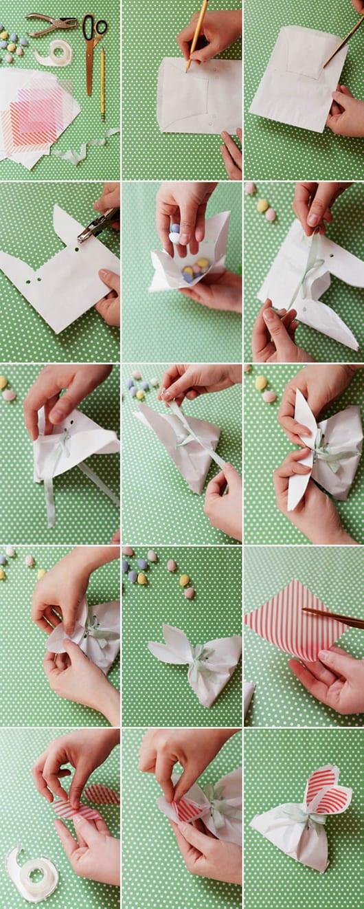 kreative Bastelidee für Osterhase-tüte als interessante DIY-Ostergeschenk