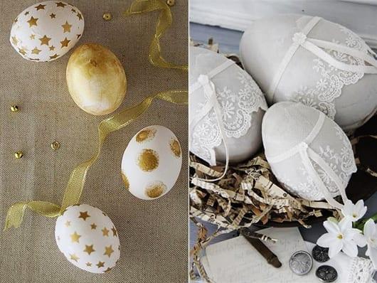 osterdeko ideen für ostereier bemalen und gestalten mit spitze