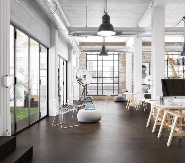 schwarzer fließ-estrich als bodenbelag und sichtbetondecke mit luftleitungen als inspiration für moderne Büroräume im Industrial style