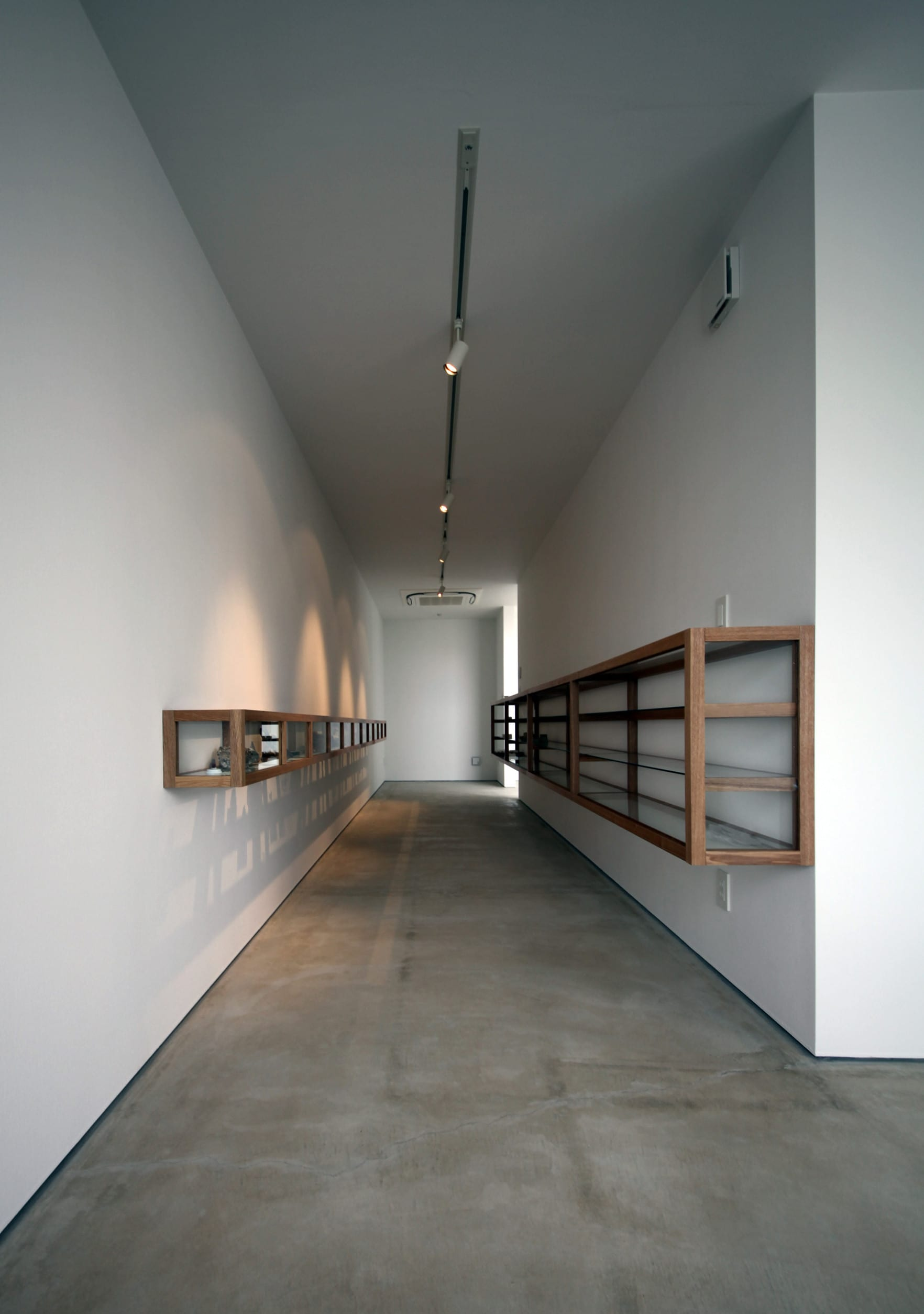 moderne raumgestaltung mit estrich als bodenbelag und weiße wänden mit wandhängende holzregalen mit glasvitrinen