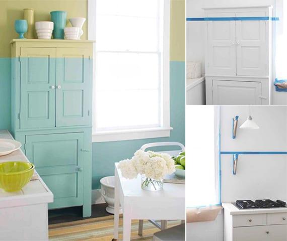 zimmer streichen_originelle farbgestaltung küche und kreative wand streichen ideen mit zwei wandfarben