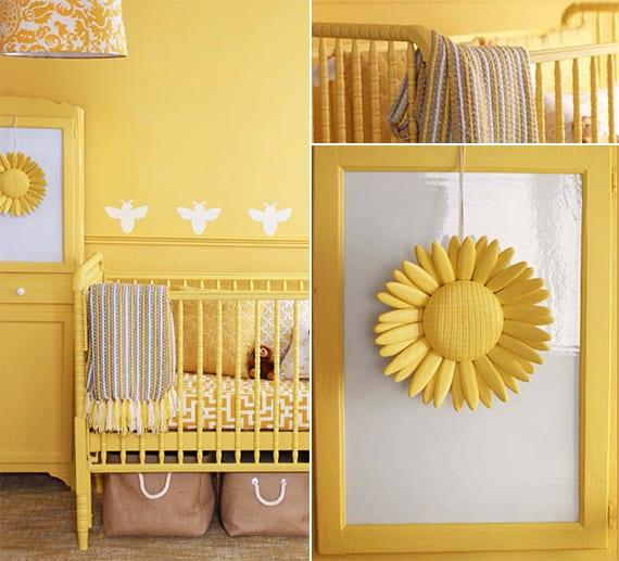 coole babyzimmer einrichtung und farbgestaltung in gelb_gitterbett und holzschrank gelb_kreative wand streichen ideen mit bienen-muster
