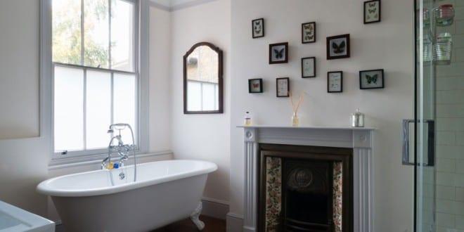 kleine und moderne badezimmer mit badewanne und kamin interessante badezimmer ideen f r moderne. Black Bedroom Furniture Sets. Home Design Ideas