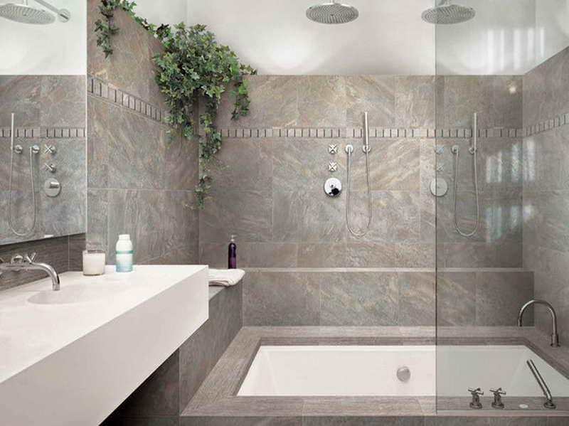graue badezimmerflisen und weißer waschtisch mit spigel für moderne Badeeinrichtung kleiner badezimmer