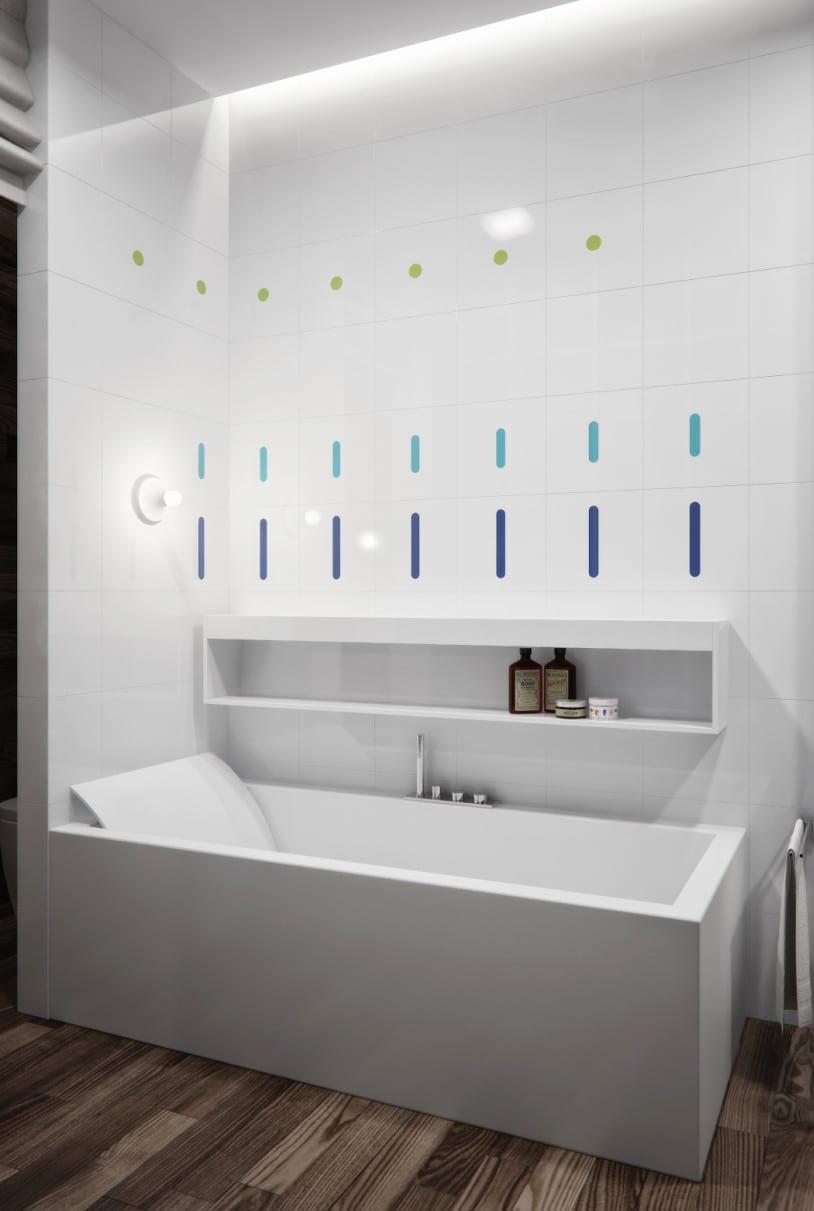 Designer Badewanne mit Rückenlehne und Wandregal weiß für moderne kleine badezimmer mit indirekter deckenbeleuchtung