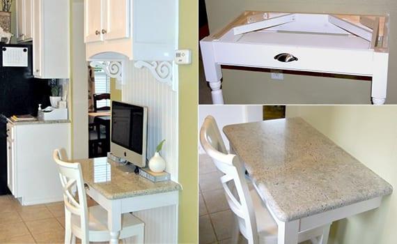 Schreibtisch weiß selber bauen als wandtisch in der küche