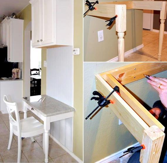 schreibtisch weiß selber bauen aus holz_kreative idee für Home Office in der küche mit DIY Wandtisch als kleiner Computertisch