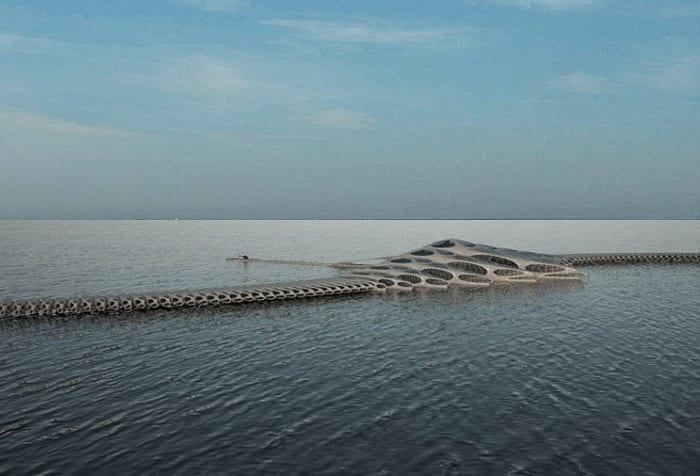 schwimmendes Hotel für schifffahrt_MORPHotel schiff am see mit abtrennbaren hausbooten