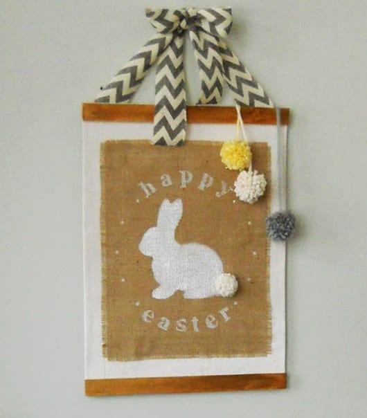 basteln ostern_kreative DIY-wanddeko zu ostern mit Osterhase-Leinwand