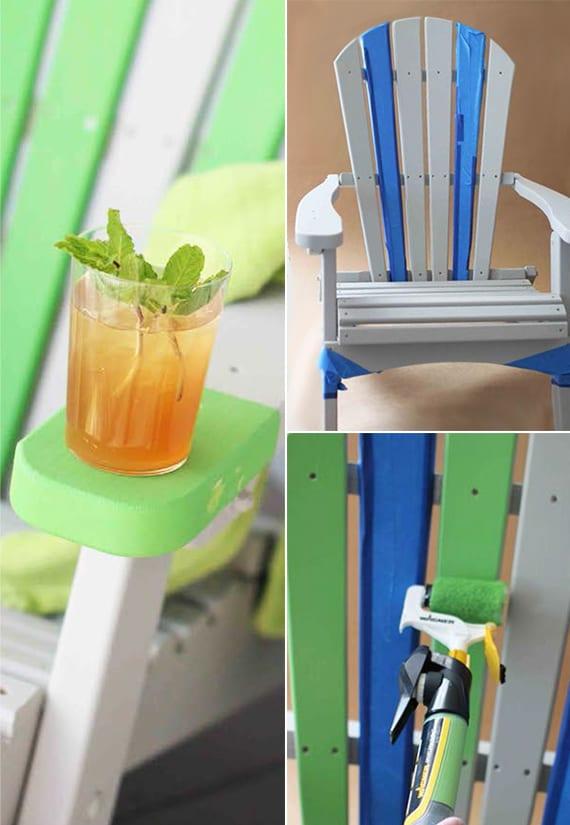 alte holzmöbel renovieren und streichen_gartenmöbel in grün und weiß streichen