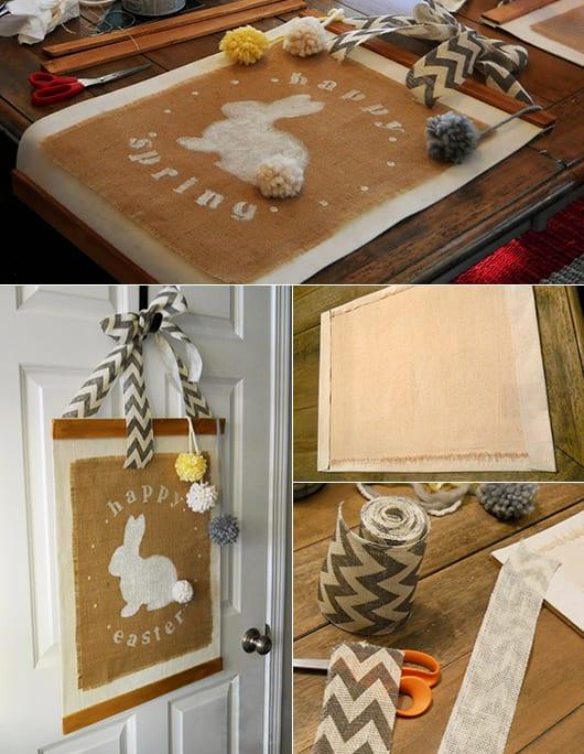 kreative osterbastelideen für coole Tür-Osterdeko und kreative Sackleinen-Wanddeko