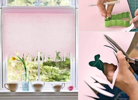 coole bastelideen für diy-Fensterdeko und Frühlingsdeko mit Rollvorhang