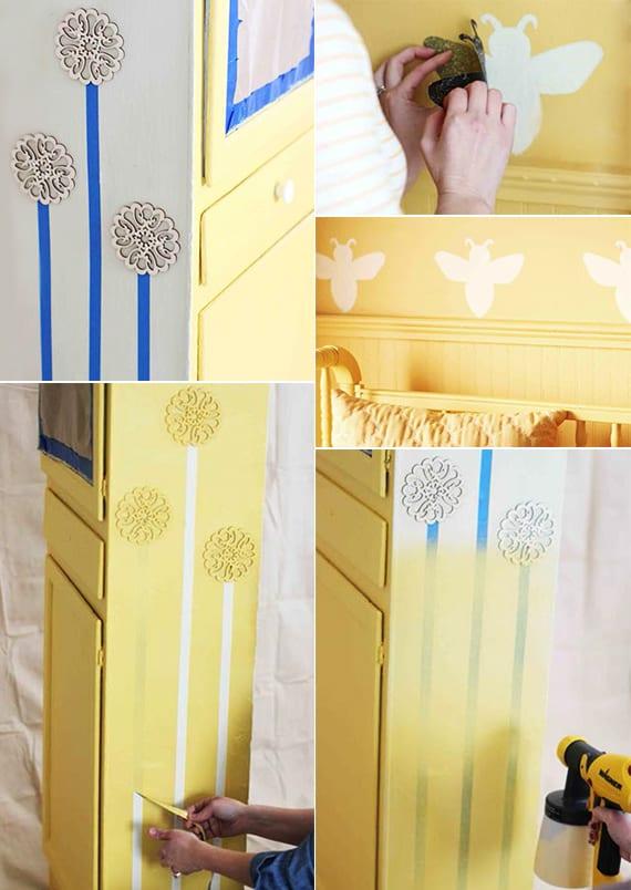 kreative kinderzimmer gestaltung mit wandfarbe gelb_coole streich ideen fürs babyzimmer