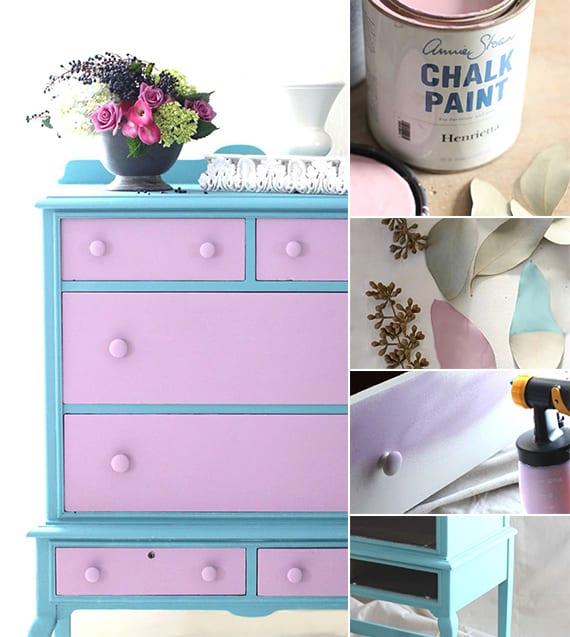 farbgestaltung durch streich ideen für holzmöbeln_holzschrank streichen in lila und blau