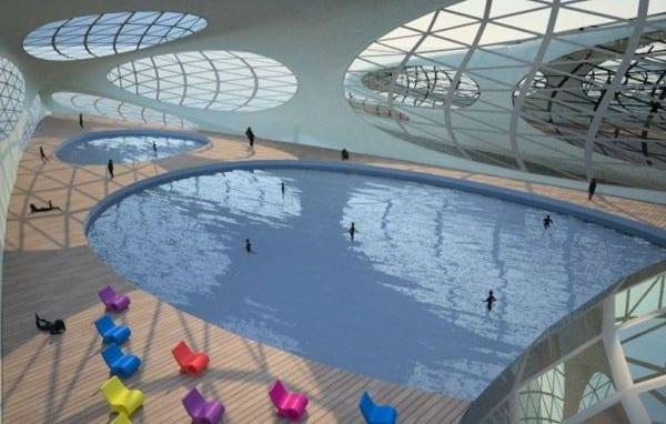 kreuzfahrt mit morph hotelschiff_schwimendes hotel im ozean mit Indoorpool und abtrennbaren Hausbooten