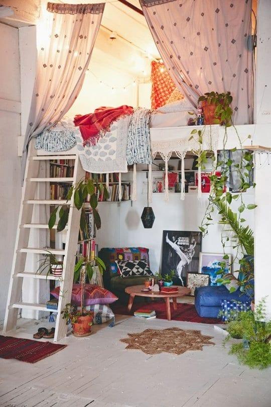schlafzimmer ideen im boho stil_kleine wohnzimmer mit hochbett, Hause ideen