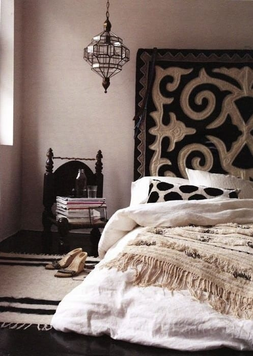 schwarzweißer boho stil im schlafzimmer einrichten