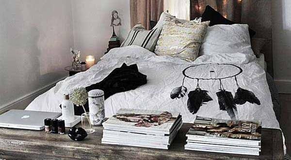 schlafzimmer ideen im boho stil_kleines schlafzimmer rustikal einrichten und mit traumfänger ...