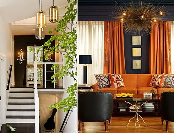 schwarze wandfarbe mit orangen gardinen und polstersofa orange kombinieren